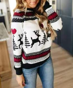 Autumn and winter new printed Christmas fawn series snowflake thickened sweater