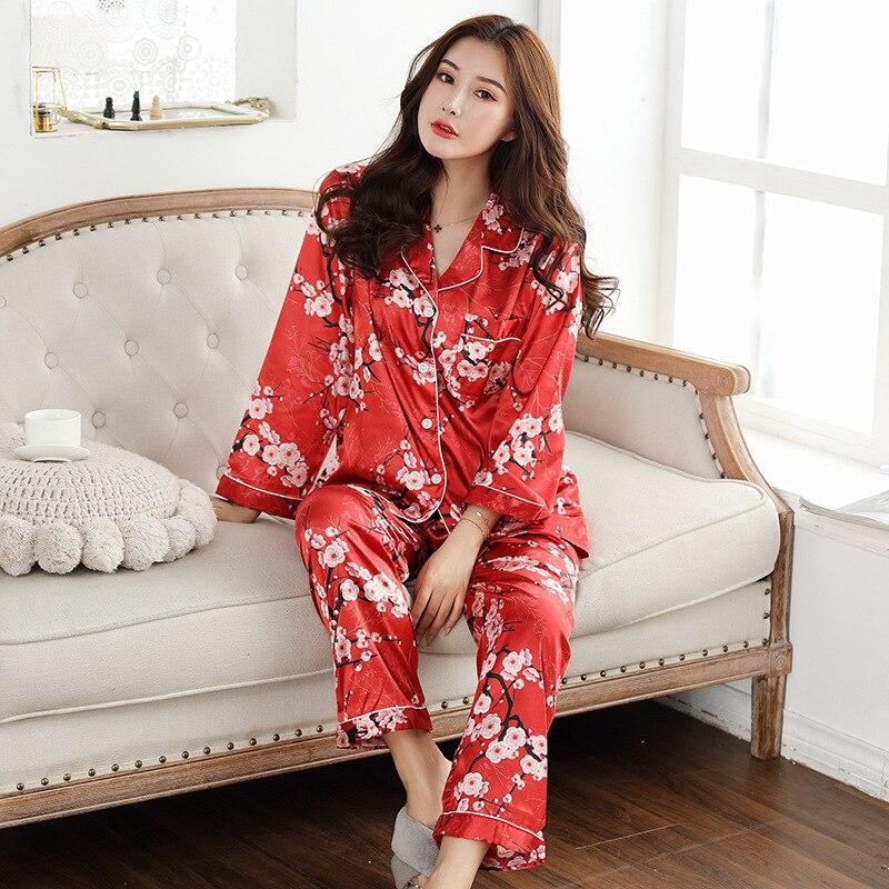 Conjunto de pijamas de seda satinada para Mujer, pijamas de Pigiama pjs con botones, pijamas de invierno para Mujer, ropa de dormir, Pijama, Pijama, damka 2 uds.