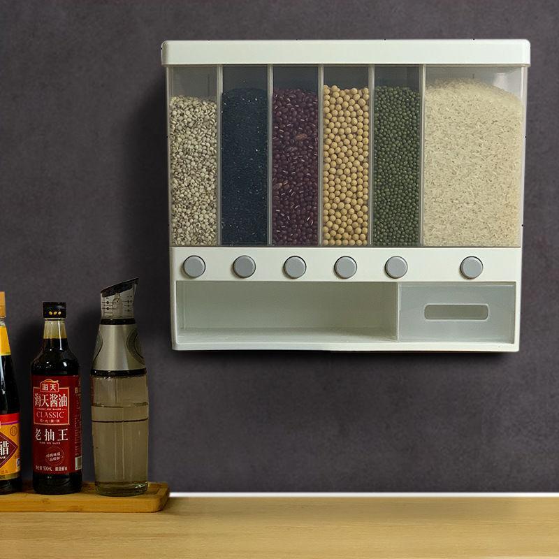 10 كجم الحائط مقسمة الحبوب الحبوب الأرز موزع 6 شبكات التلقائي البلاستيك مقاوم للرطوبة طعام مختوم صندوق تخزين