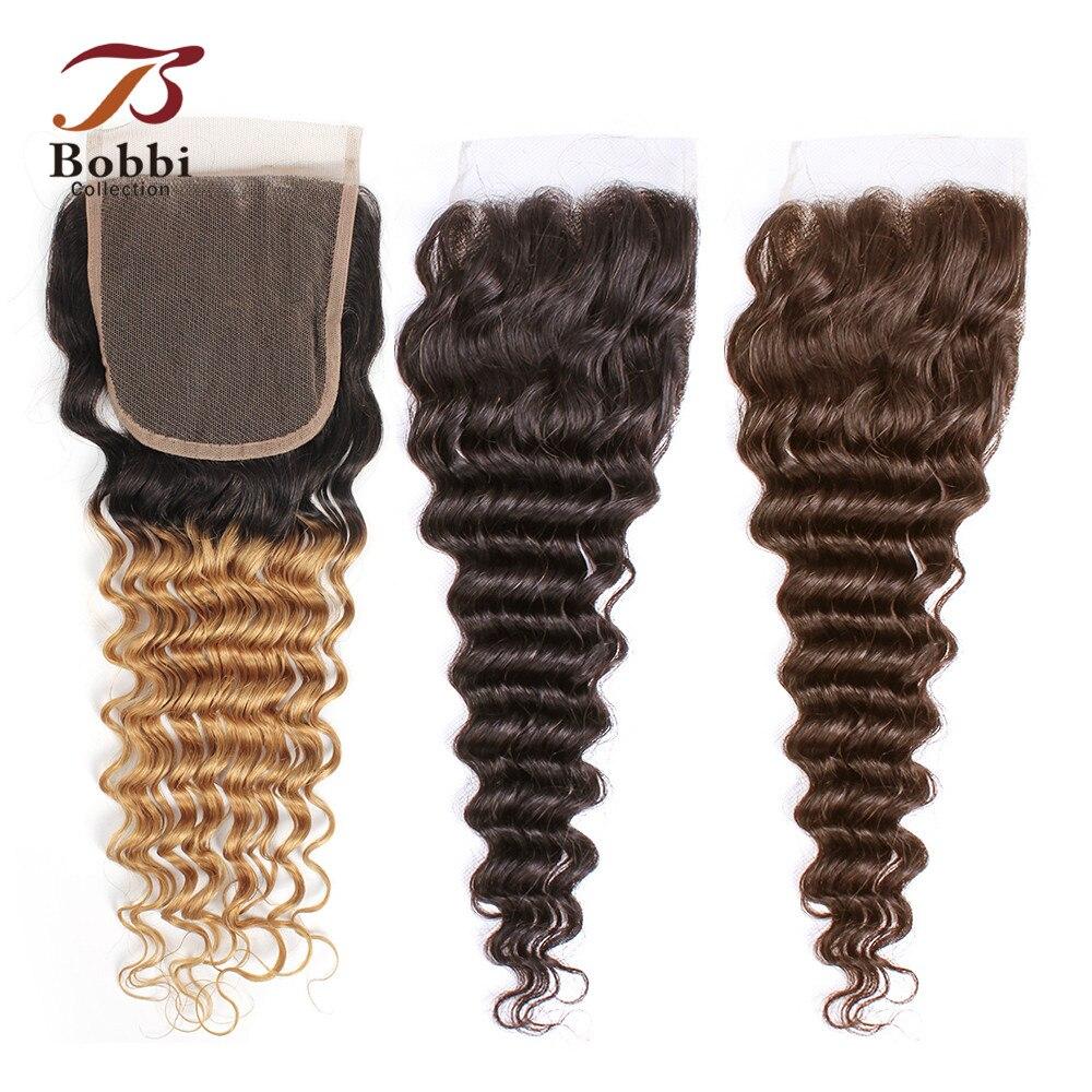Bobbi Collection T 1B 27 De encaje cierre Ombre rubio miel Color marrón oscuro Color 2 4 brasileño de la onda profunda de cabello humano no Remy