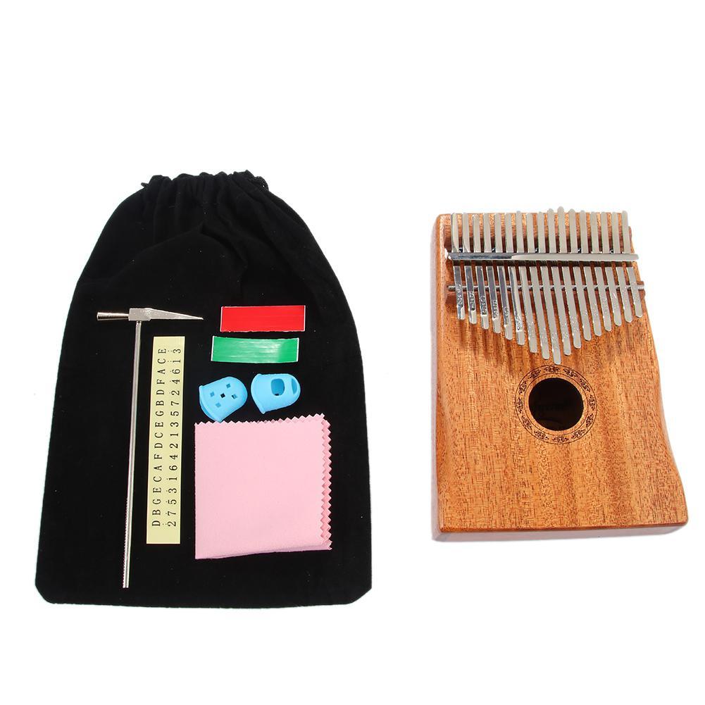 17 clave piano de pulgar kalimba de alta calidad de caoba pulgar dedo Piano de madera instrumento Musical de aprendizaje libro melodía martillo