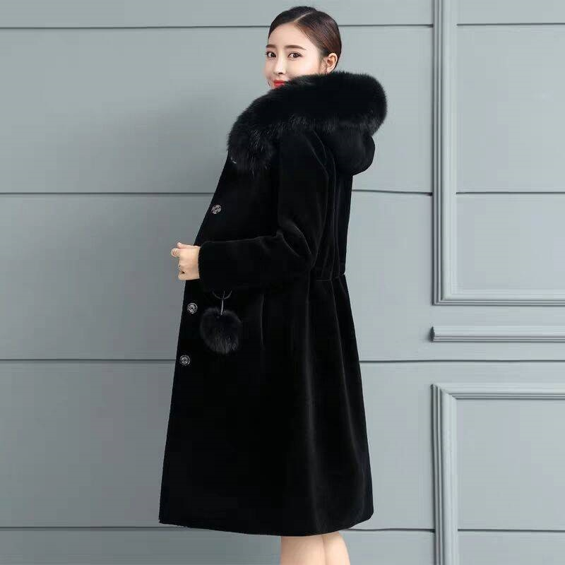 winter jacket outerwear women high quality faux rabbit fur coat loose lapel overcoat thick warm female plush coats f108 Winter Women High Quality Faux Rabbit Fur Coat Long Fur Coat Loose Lapel OverCoat Thick Warm Plus Size Female Plush Coats T584