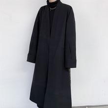 Homens casaco de lã vintage padrão splice solto casual longo jaqueta trench coat masculino japão streetwear hip hop gótico quimono
