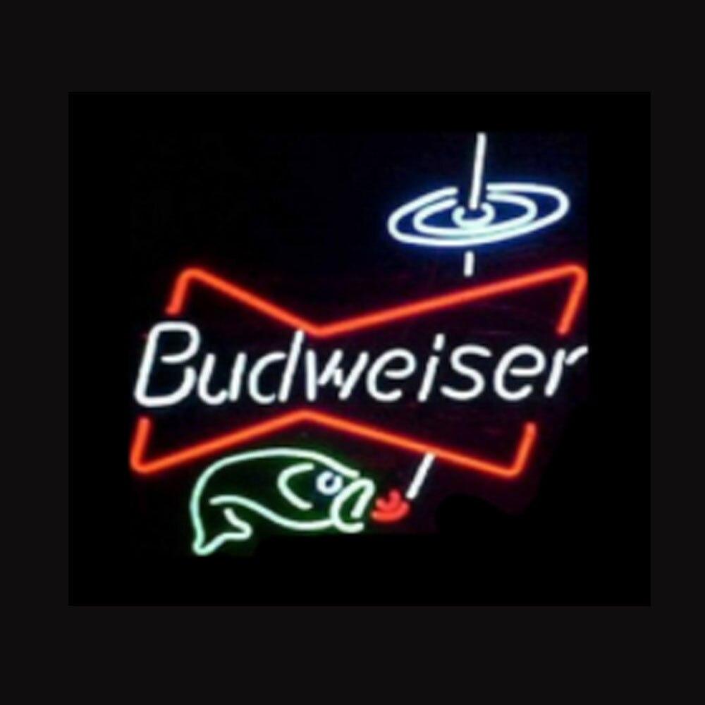 Budweiser بووتي الأسماك النيون تسجيل اليدوية أنبوب زجاجي حقيقي البيرة بار KTV متجر حانة المنزل شركة عرض ضوء مصباح 17
