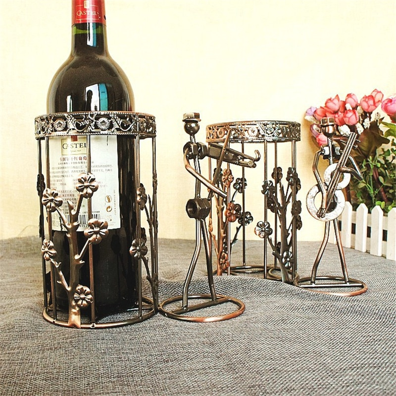 Soporte de Metal para vino, soporte para botellas de vino tinto