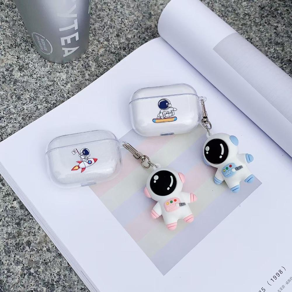 Space astronaut 3D Keychain Couple Cute Earphone Case For Airpods pro 3 soft Wireless Bluetoyoth For Airpods 2 protection cover