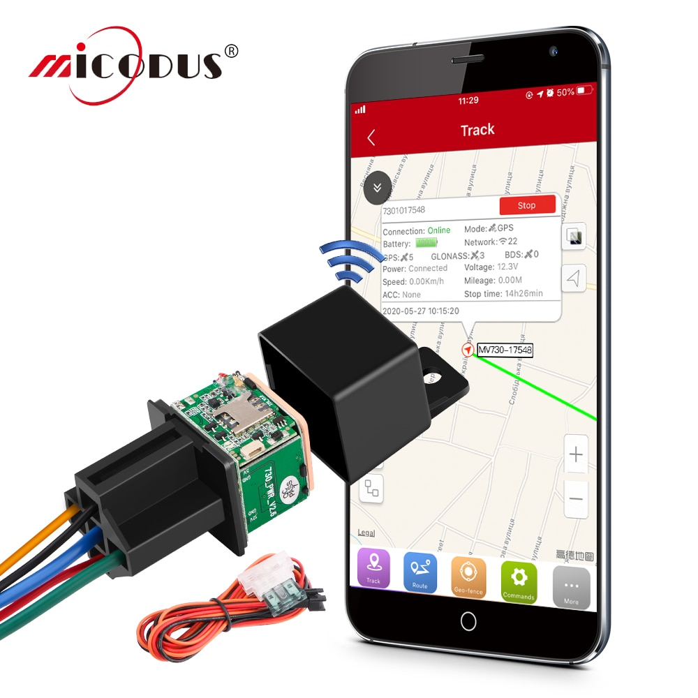 MiCODUS Relay GPS Tracker Car MV730 9-90V Cut Off Fuel ACC Detect Mini GPS Tracker For Car Realtime Track Vibrate Alert FREE APP