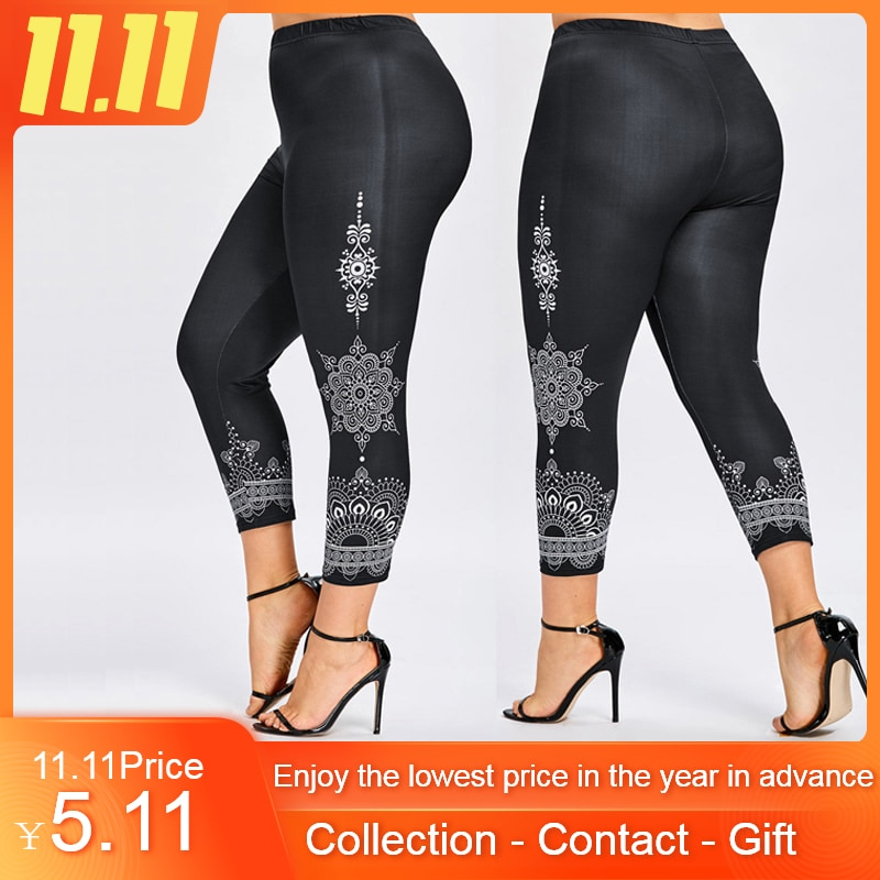 2019 Fashion Women Leggings Plus Size Printed Legging Trousers Sport Casual Pants XL-5XL