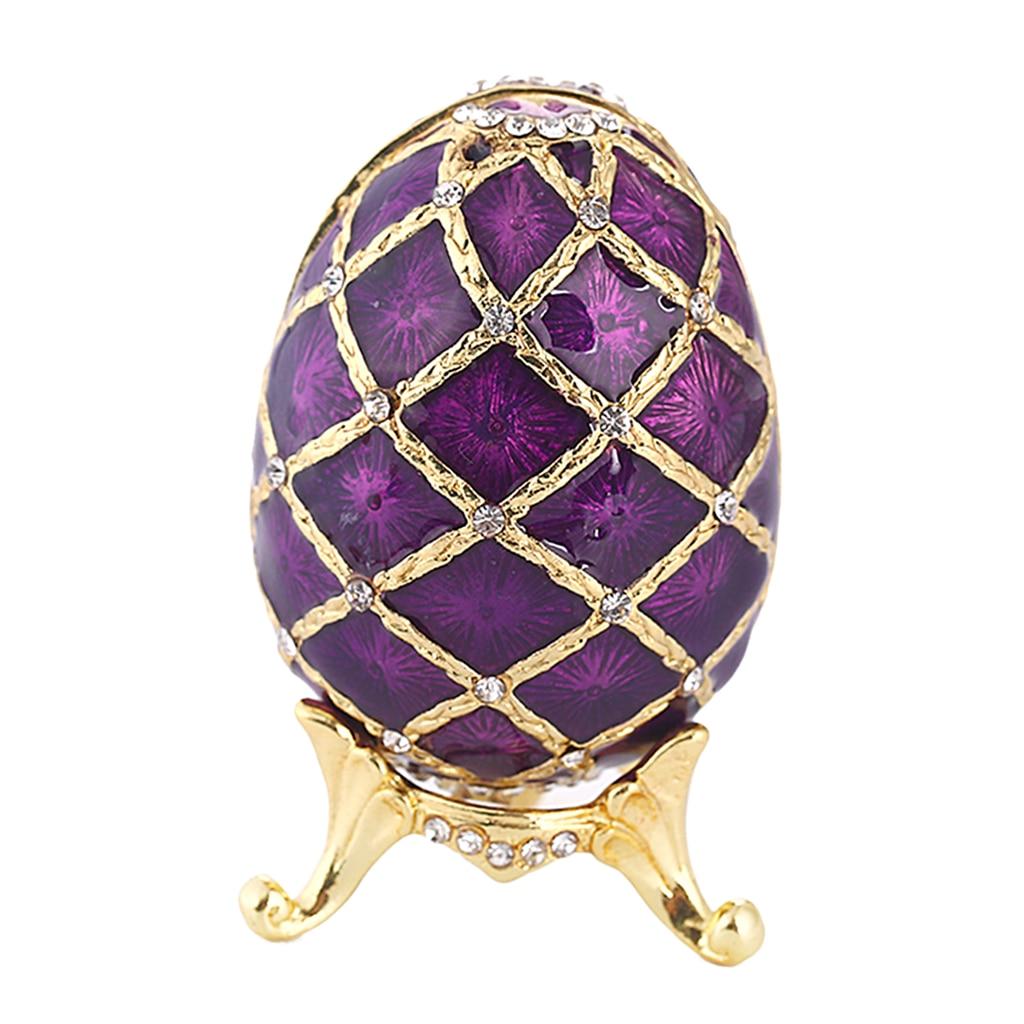 Purple Faberge Russia Egg Figurine Jewelry Trinket Box Souvenir Easter Craft 7 x 4.7cm Crystals Home Decor Figurine Boxes