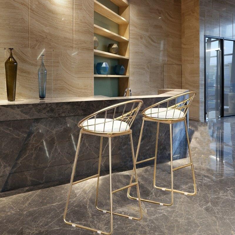 Nórdico tamborete de barra tabouret cadeira alta simples ferro forjado cadeira de barra de ouro moderno jantar cadeira nordic pub acessórios lazer