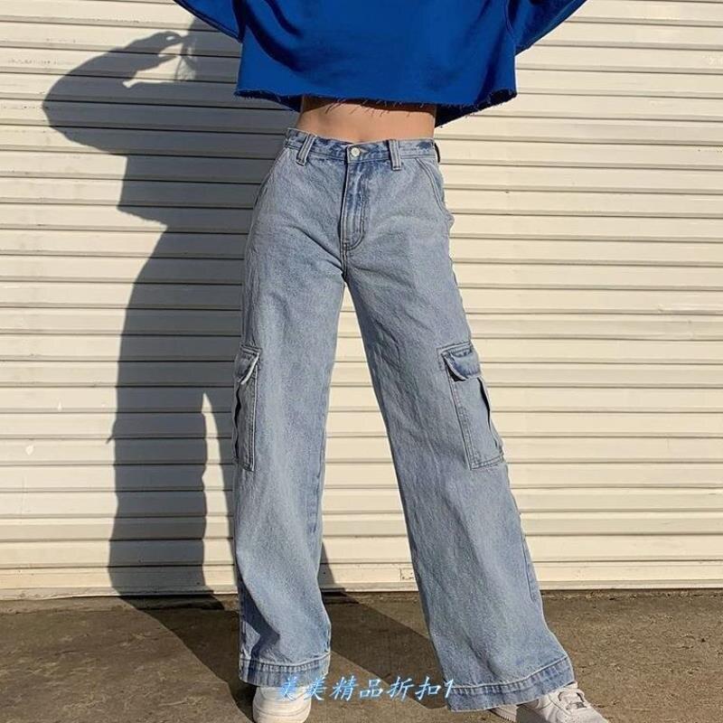 بنطلون جينز نسائي أزرق عتيق ، ملابس الشارع ، مستقيم ، بجيوب ، مرقع ، خصر عالي ، قطن 100% ، كارغو