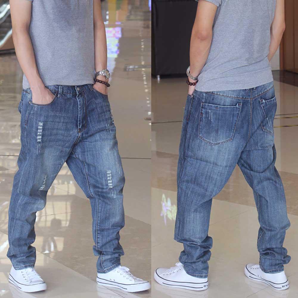 Модные штаны-шаровары джинсы для мужчин повседневные джинсовые штаны Свободные мешковатые рваные джинсы брюки для девочек уличная джинсы ...
