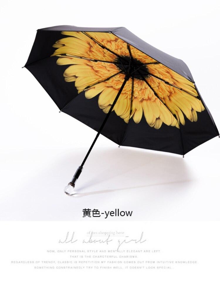 Luxury Handle Umbrella Long European Style Diamond Handle Waterproof Sun Protection Umbrella Black Paraguas Rain Gear AG50ZS enlarge