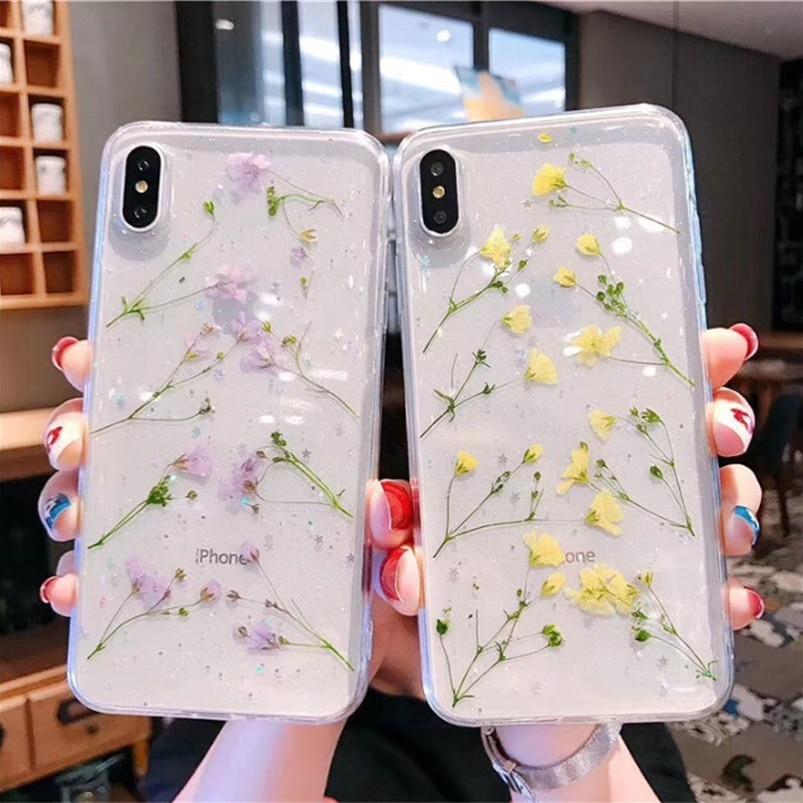 Real secas flores transparente suave TPU funda para iPhone x XS XR XS Max 10 6 6S 7 8 Plus hermoso Color floral contraportada