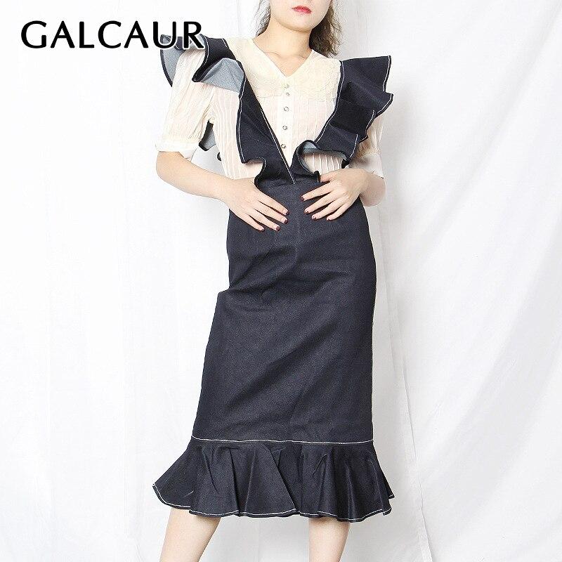 GALCAUR-تنورة ضيقة عالية الخصر مع انتفاضات ، لون أزرق ، للنساء ، مجموعة خريف 2021
