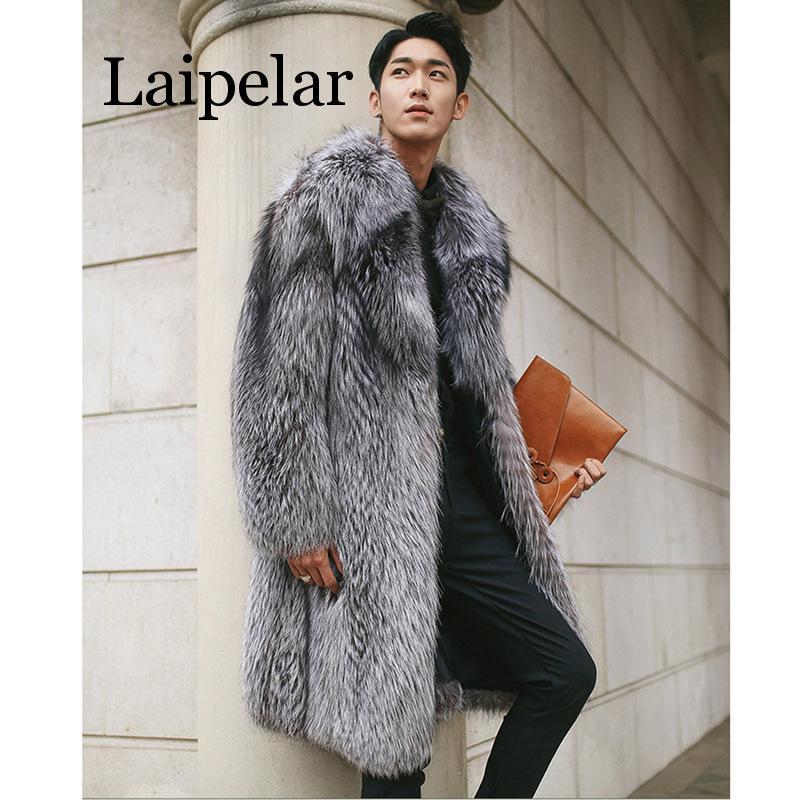 Laipelar New Mens Warm Plus Thickening Long Coat Jacket Faux Fur Men Fox