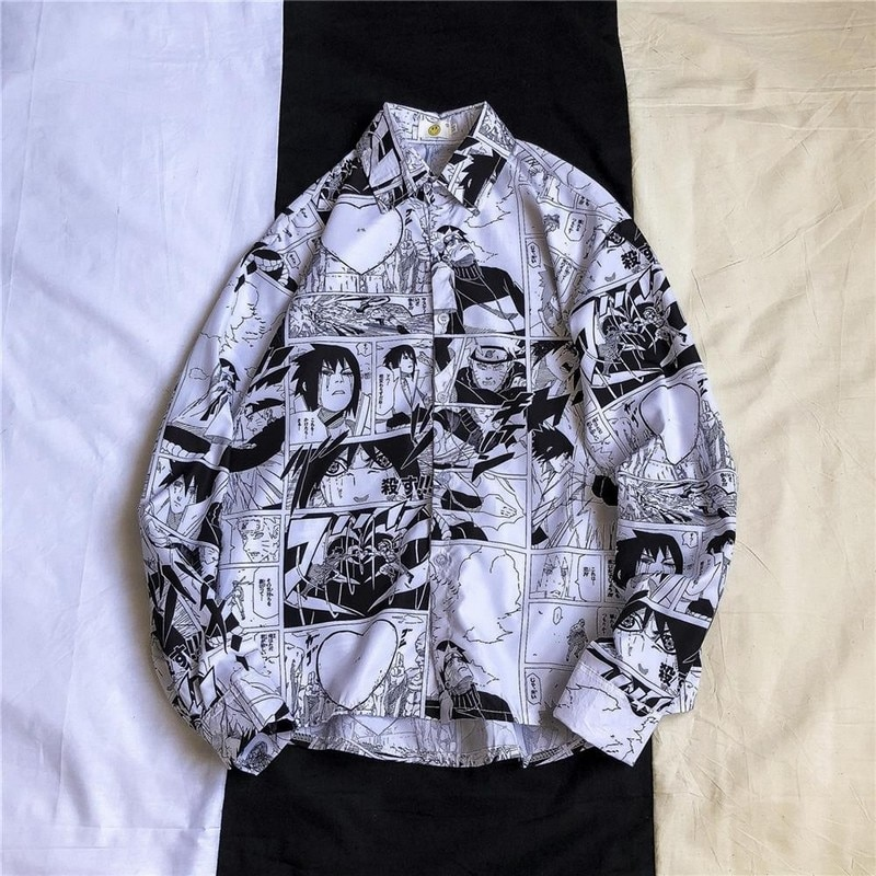 Blouse Women Men Shirts Punk Tops Korean Ins Naruto Printed Long-Sleeved Loose Flower Shirt Couple Beach Cardigan Casual Jacket