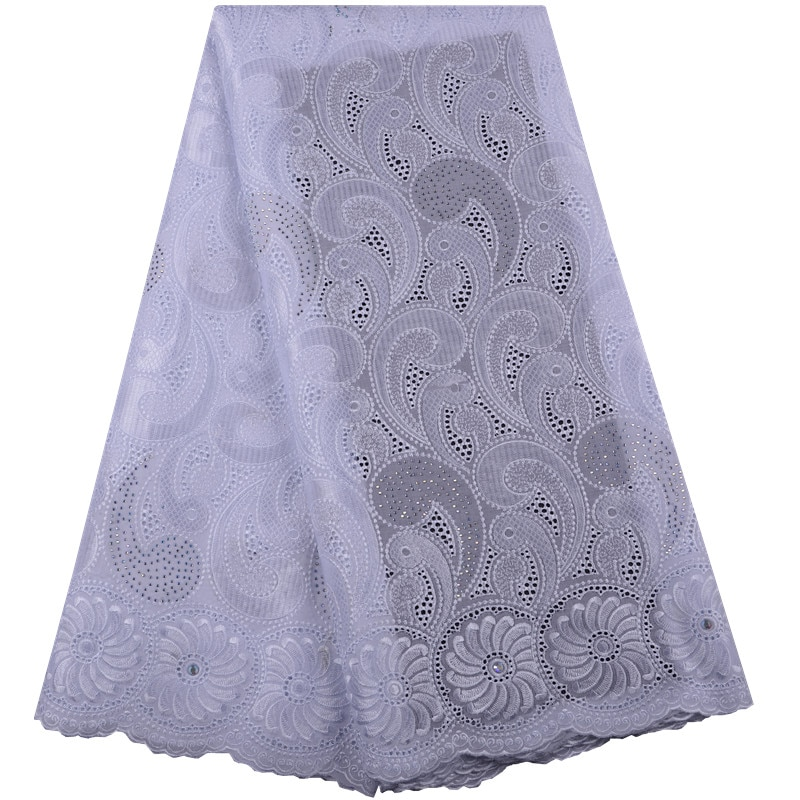 Купить с кэшбэком African Lace Fabric High Quality 2021 Hot Sale White Swiss Voile Cotton Fabrics Sweing Embroidered Dresses For Women Party A1425