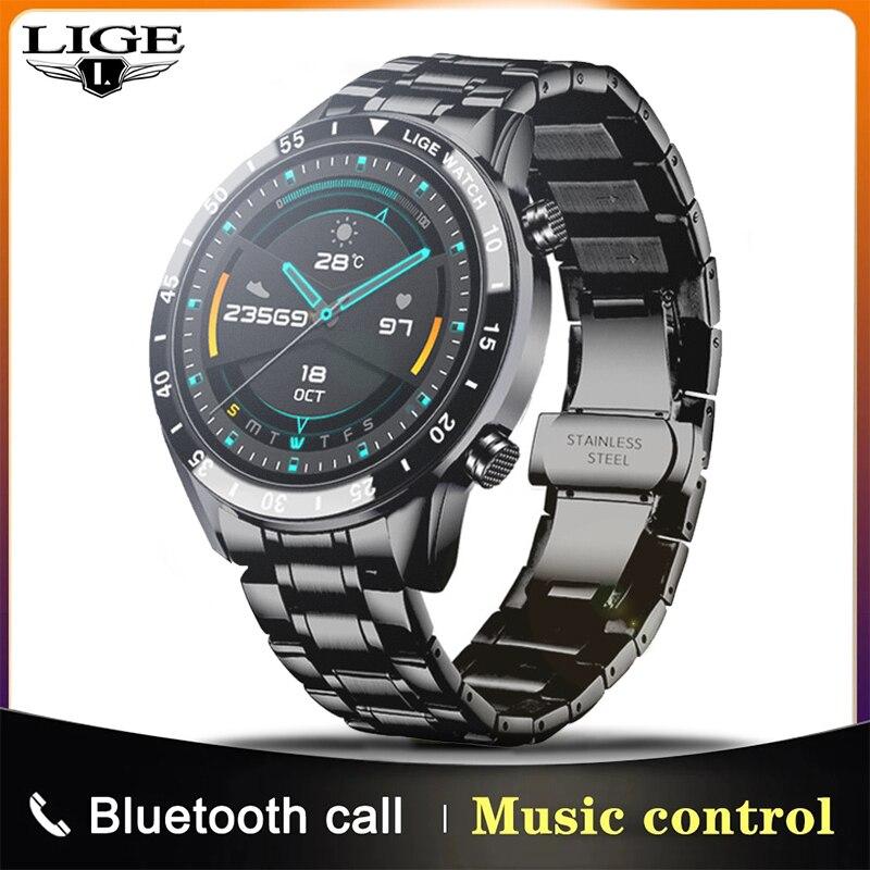 LIGE 2021 New Smart Watch Men Full Touch Screen Sports Fitness Watch IP67 Waterproof Bluetooth For A