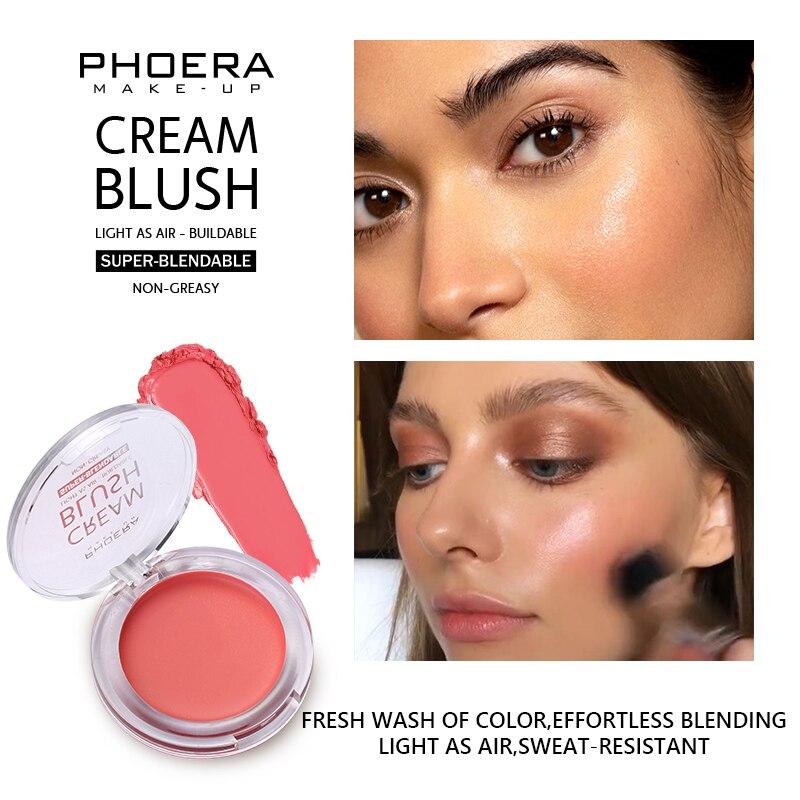 PHOERA Blush Cream Face Blusher Powder Rouge Makeup Cheek Blusher Powder Minerals Palette Blusher Palette Cream cosmetic 8 color