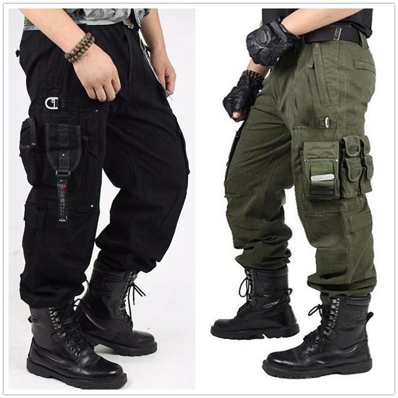 Брюки-карго в стиле милитари для отдыха, модные повседневные хлопковые брюки-комбинезон в стиле милитари с трехмерными карманами, уличные ш...