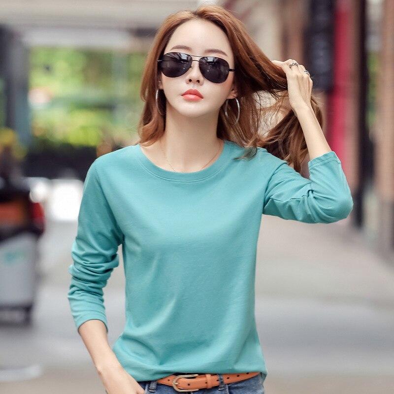 Nova camiseta feminina de manga comprida de algodão t camisa das senhoras de inverno camiseta de cor sólida básica tshirt plus size camisetas casuais para mulher