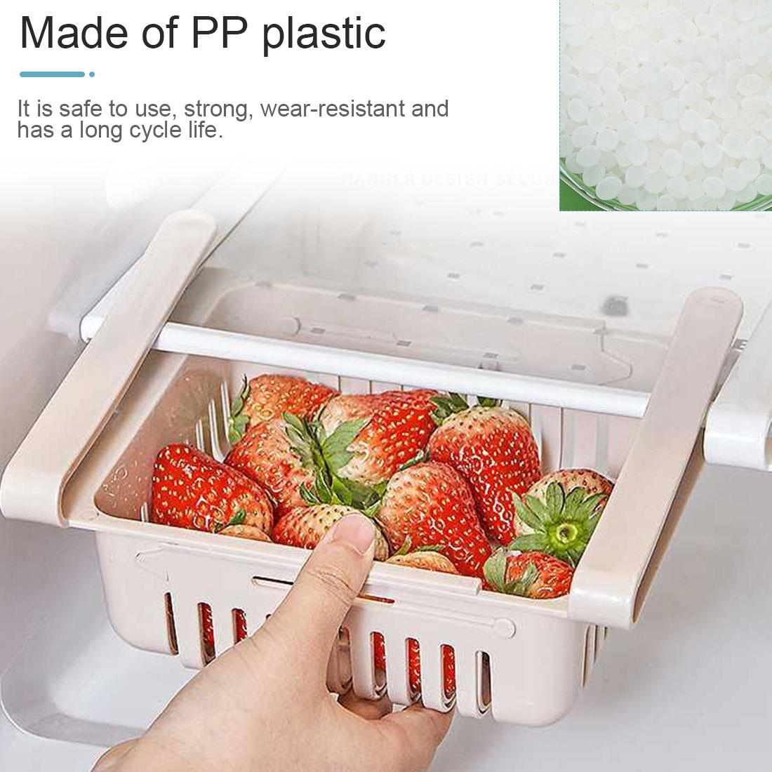 2Pcs Kitchen Accessories Storage Container Refrigerator Organizer Adjustable Plastic Fridge Storage Baskets Pull-out Drawers