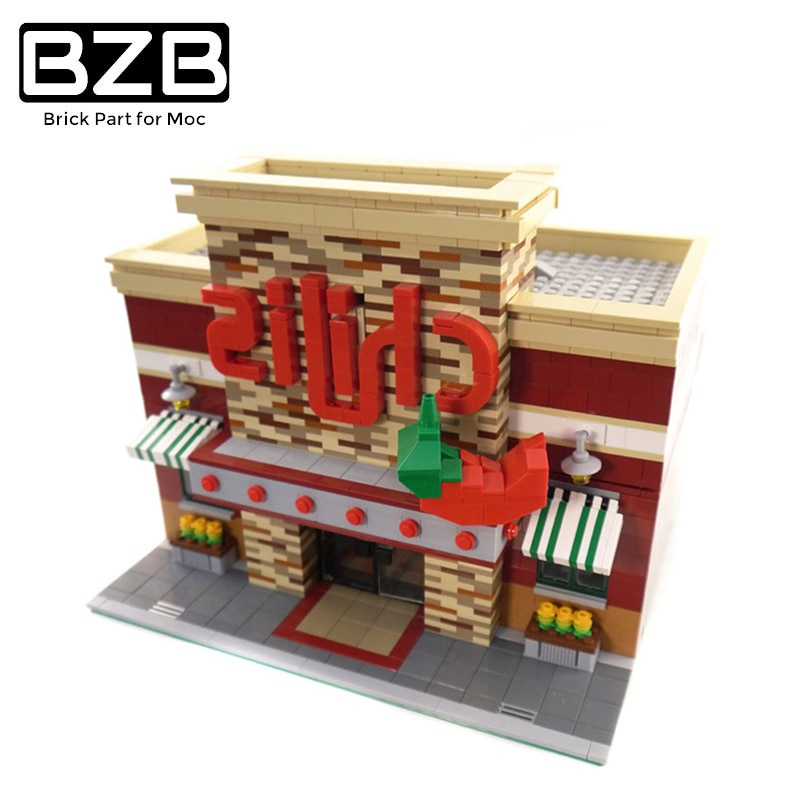 BZB MOC  Compatible With 0203 Classic Downtown Building Spicy Pepper Restaurant Building Blocks Model Children\'s DIY Toys Gifts