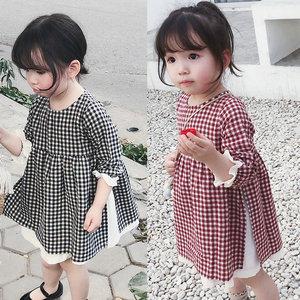 Girl'S  Plaid Dress GIRL'S Dress Spring And Autumn New  Childrenswear kids dresses for girls