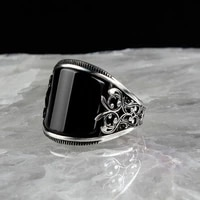 men silver plated punk relief totem ring black zircon crystal ring engagement wedding jewelry boyfriend birthday fathes day gift