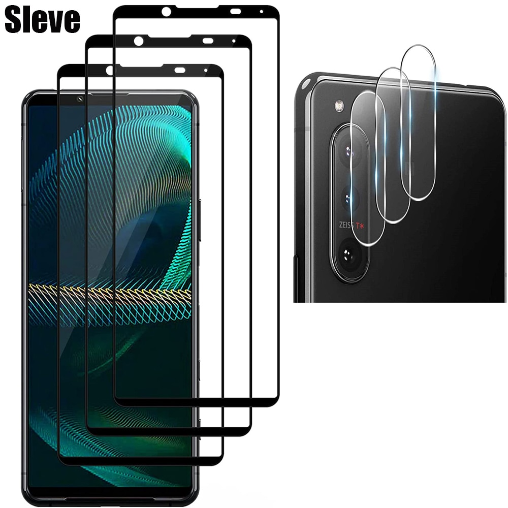 2.5D 9H Tempered Glass For Sony Xperia 1 5 10 II iii Screen Protector with HD Lens Protector On For For Sony Xperia1 5 10 III ii