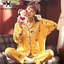 Mignon dessin animé pyjama Long pour les femmes imprimer revers bouton à manches longues costume maison automne et hiver nouvelle fille Lingerie Nuisette