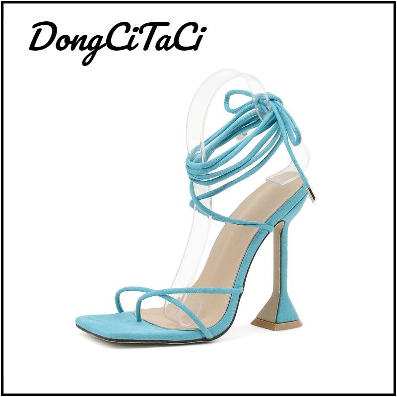 DongCiTaCi Women's Square Toe High Heels Flip Flop Sandals Party Pumps Sandals Shoes for Women Fashi