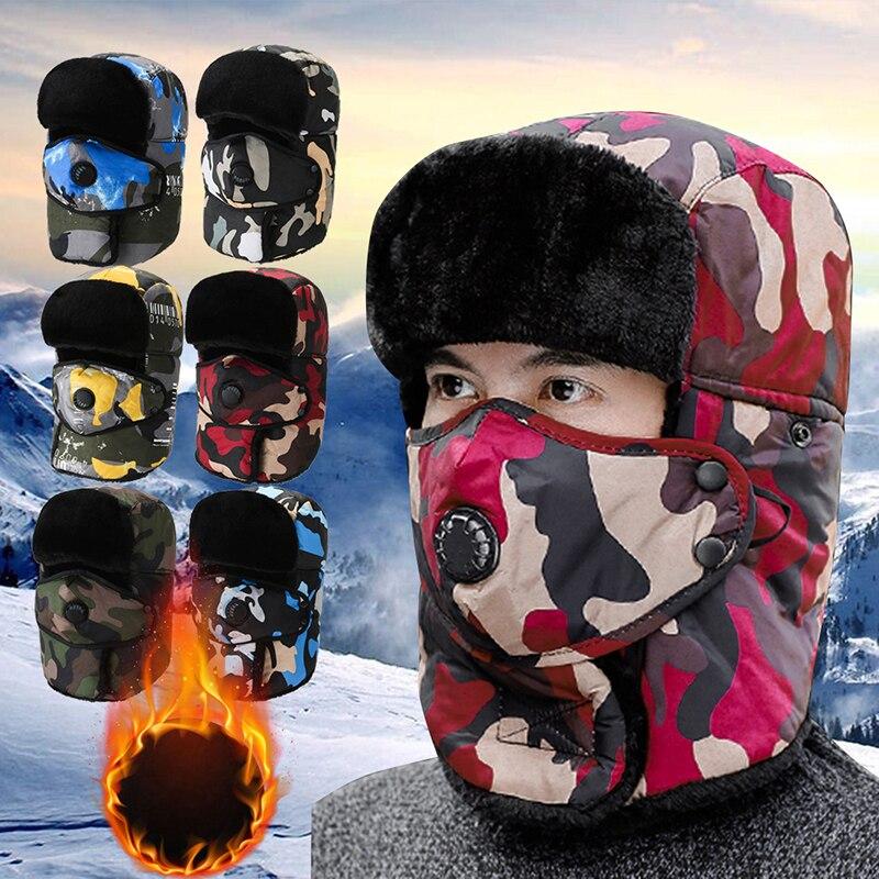 Military Army Winter Bomber Hat Women Men Russian Ushanka Hat Faux Fur Earflap Caps Waterproof Snow Cap Camouflage Outdoor Ski