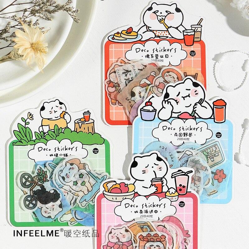 20 set/1 lote Kawaii papelería pegatinas gato tio tienda de té diario decorativo móvil pegatinas Scrapbooking DIY artesanía pegatinas