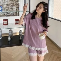 summer women cozy 2 pieces pajama sets lace contrast design purple yellow blue pink blouse and short sleeping home twinset 2021