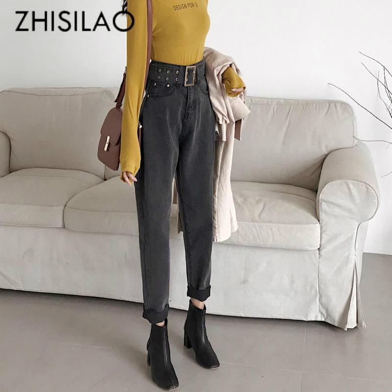 Straight Harem Jeans Women Plus Size Vintage Boyfriend High Waist Denim Pants 2020 Loose Retro Mom Jeans with Belt