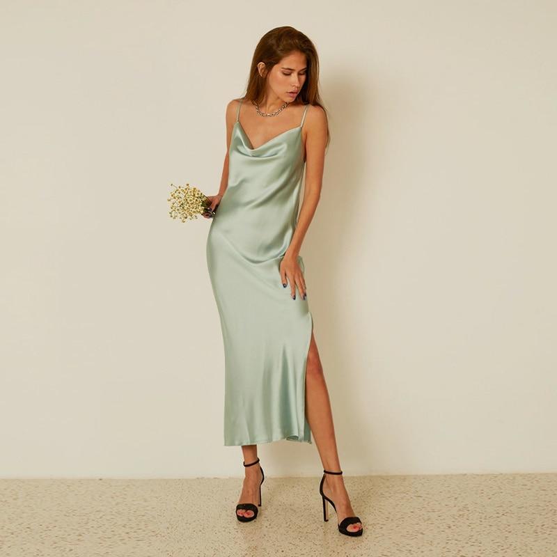 Women Summer Fashion Sleeveless Satin Long Dress Mint Green V-Neck Backless Slit Spaghetti Strips Dress Elegent Dress For Women