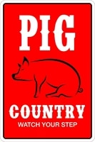 stickerpirate pig country watch your step 8 x 12 metal novelty sign aluminum ns 122