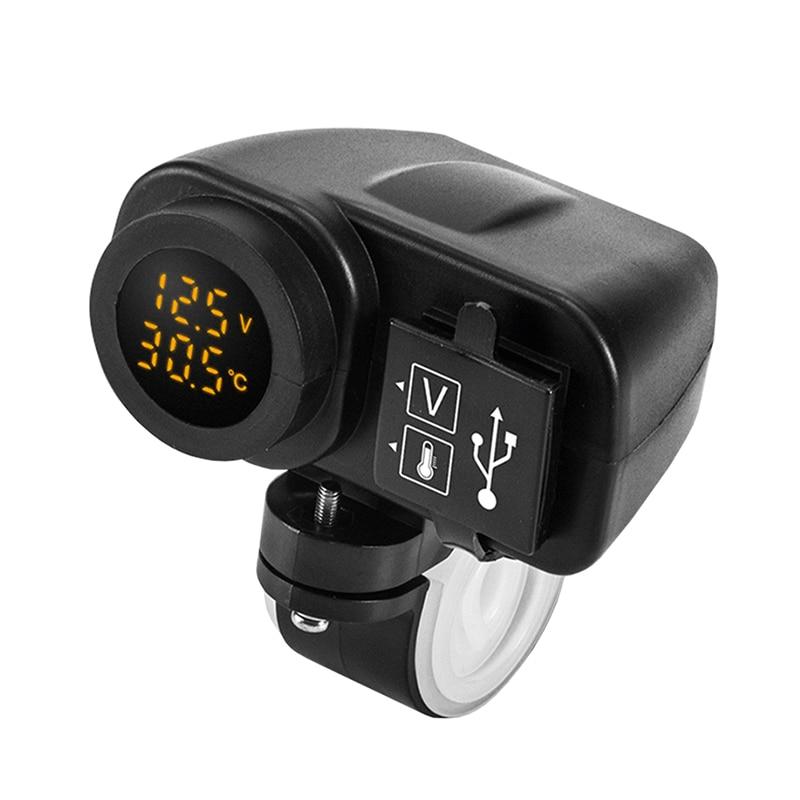 دراجة نارية شاحن الهاتف شاشة ديجيتال دراجة نارية شاحن USB مزدوج الفولتميتر ميزان الحرارة ل هاتف محمول