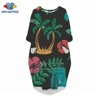 sonspee new 3d print hawaiian style fashion sleeve dress and versatile casual women fresh flowers party loose large size dresses