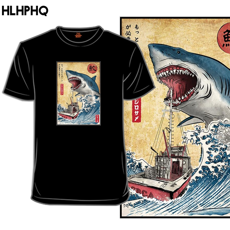 Hunting The Shark In Japan Aesthetic Funny Cartoon T Shirt Men Streetwear T-shirt Japanese Anime Sum