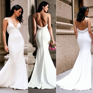 Mermaid Wedding Dresses V-neck Backless Sleeveless Floor-Length Wedding Gowns Vestido De Noiva Sexy Elegant Bride Dress