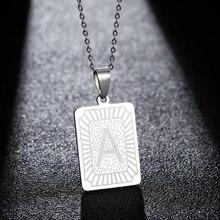Hfarich nom carte 26 initiale A-Z colliers pour femmes hommes Unique bijoux Capital Alphabet collier en acier inoxydable tour de cou cadeau