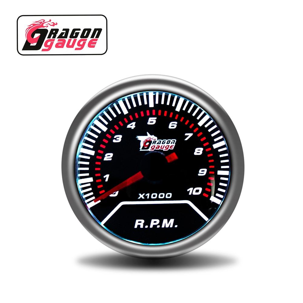 「DRAGON」 52mm Car Tachometer RPM Meter Pointer Display 0~10*1000RPM White Light Car Gauge Factory Sales Fit for 12 Volt Car