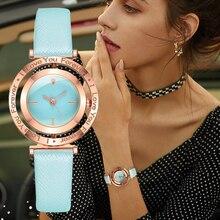 Simple cadran rotatif femmes montres or pointeur mode dames Quartz cuir montres 2020 décontracté femme montre Orologio Donna