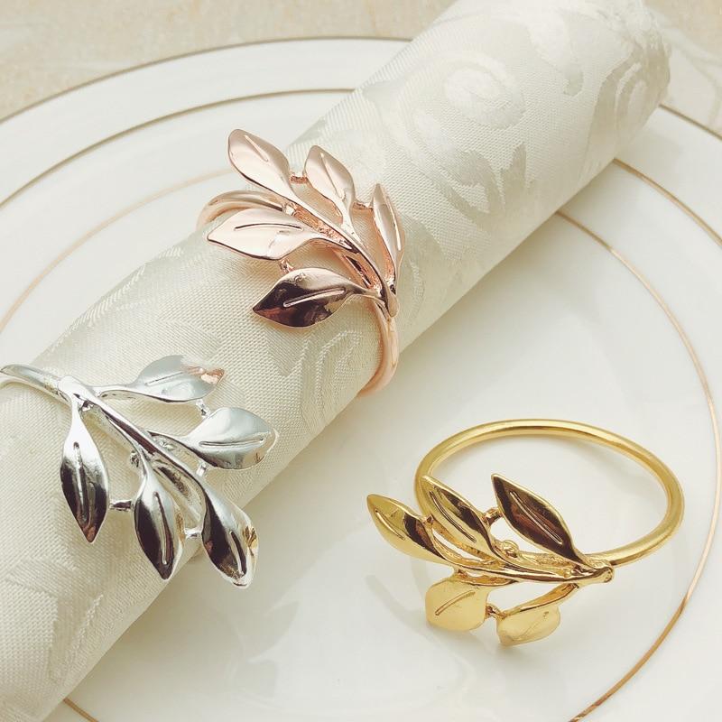 Servilletas de hojas de 6/10 Uds., soporte de servilletero metálico dorado y plateado para bodas, fiestas, banquetes, bautismal, decoración de mesas de comedor