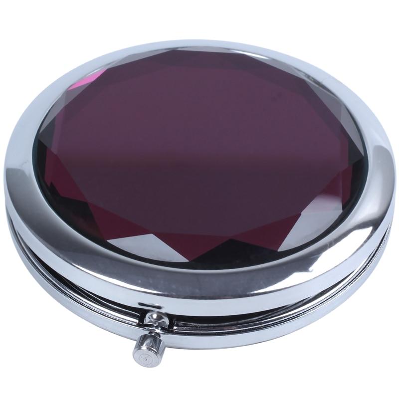 Espelho de maquiagem dobrável de cristal do bolso compacto do curso, roxo