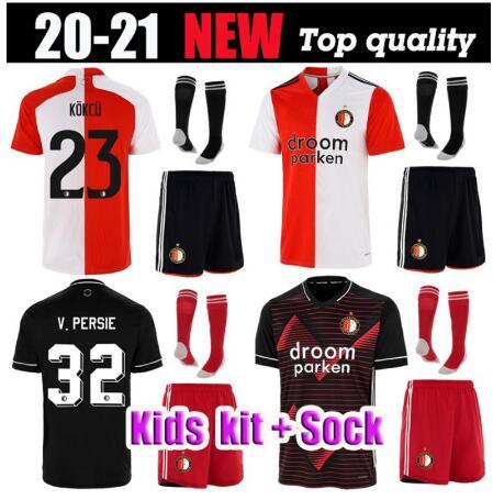 Novo 20 21 crianças kit casa longe feyenoord futebol jerseys v. persie jorgensen berghuis vilhena meninos crianças kit camisa de futebol