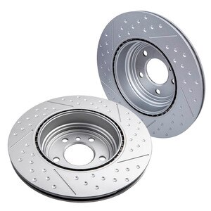 Left & Right 1 Pair Rear Spoke Brake Rotors Dics Stainless Steel Drilled for BMW F30 F33 F36